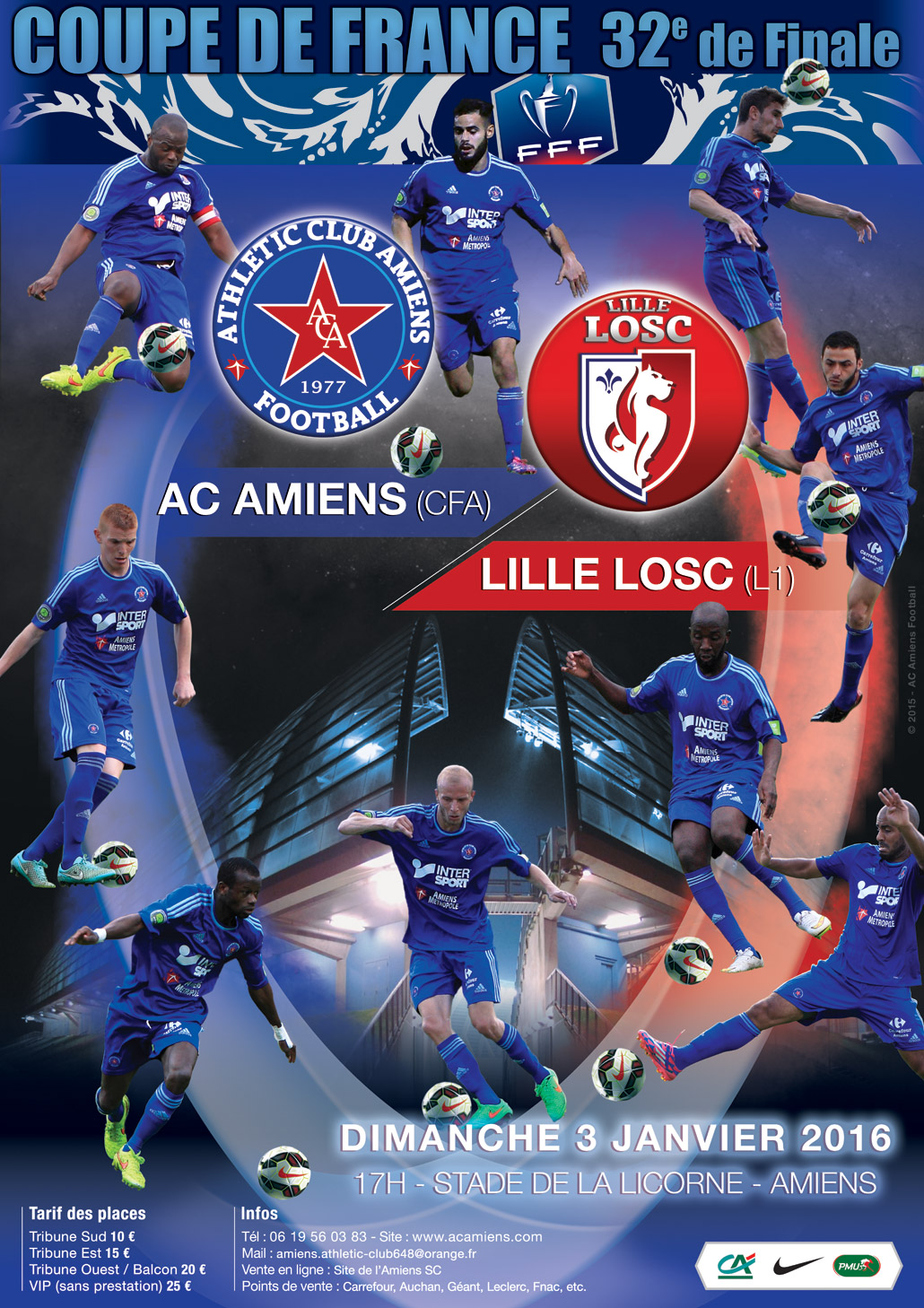 Athletic club amiens football coupe de france 2015 2016 32e de finale billetterie - Amiens ac lille coupe de france ...