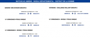 Matchs de District - Weekend du 3 et 4 octobre