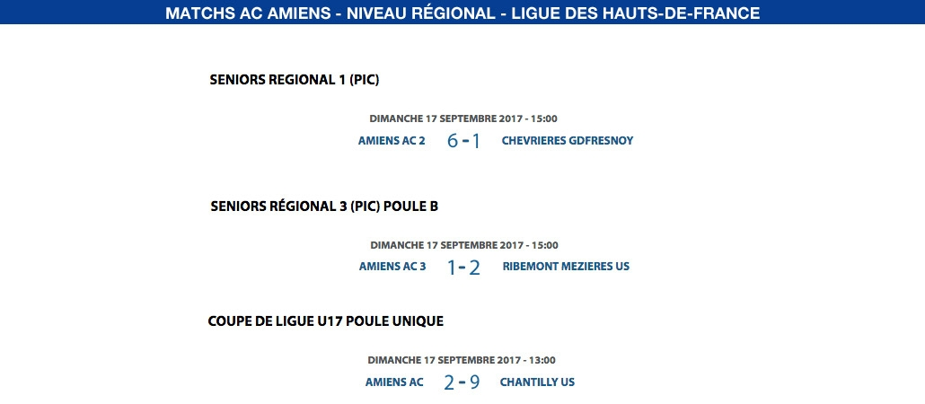 Matchs de la Ligue - 17 septembre