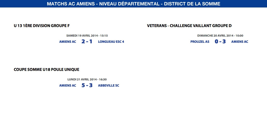 Matchs de District - Weekend du 19, 20 et 21 Avril