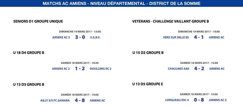 Matchs de District - Weekend du 18 et 19 mars