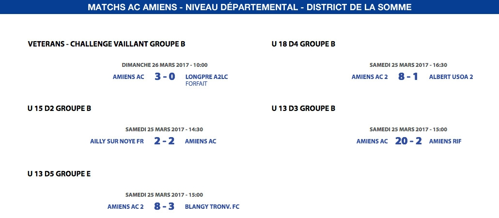 Matchs de District - Weekend du 25 et 26 mars
