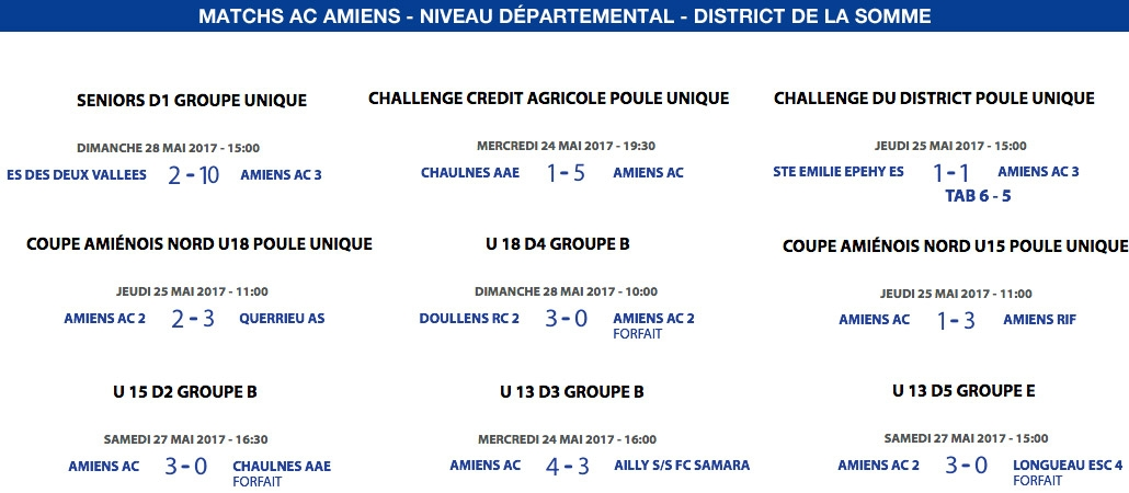 Matchs de District - du 24 au 28 mai