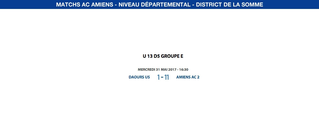 Matchs de District - 31 mai