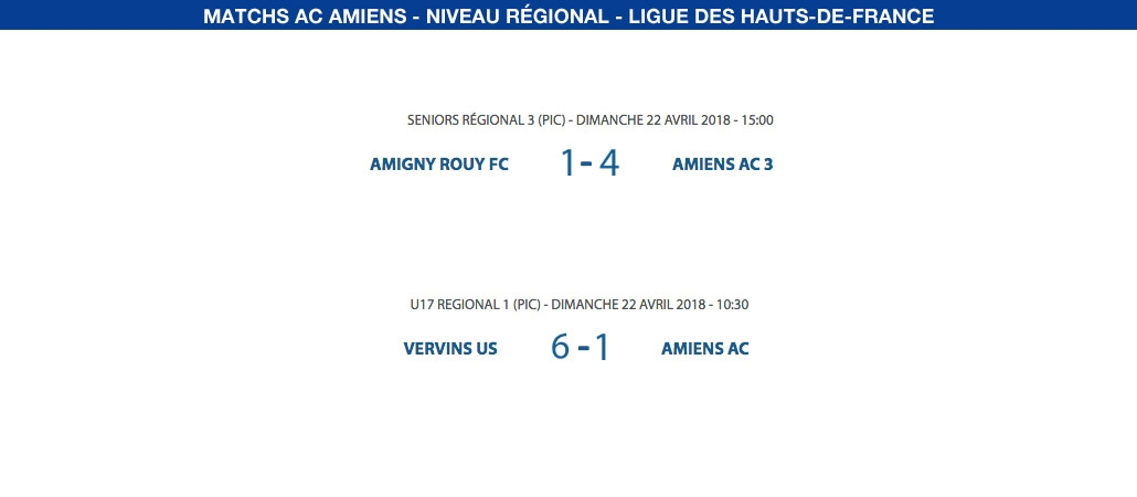 Matchs de la Ligue - 22 avril