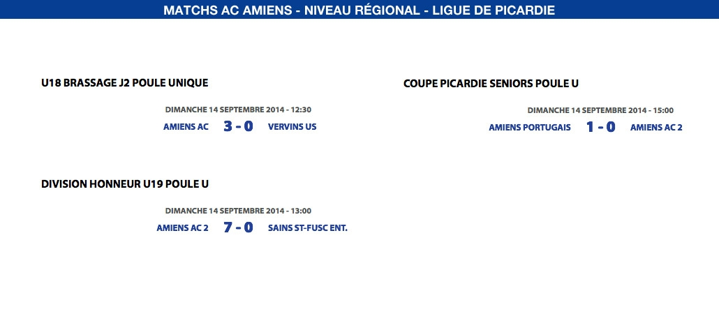 Matchs de la Ligue - 14 septembre