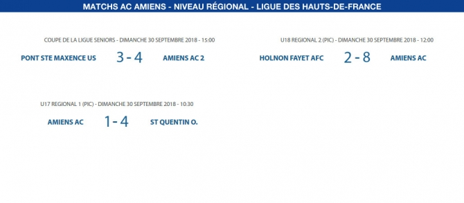 Matchs de la Ligue - 30 septembre