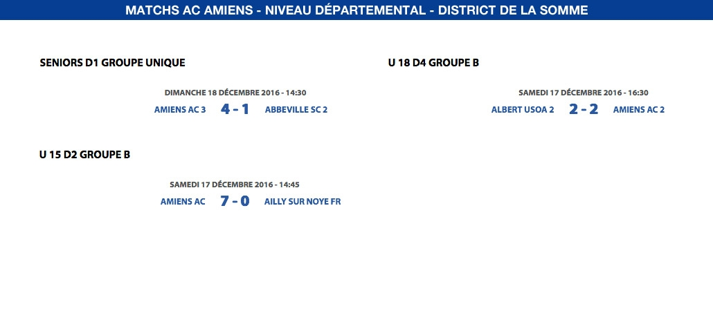 Matchs de District - Weekend du 17 et 18 décembre