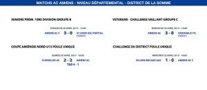 Matchs de District - Weekend du 25 et 26 avril