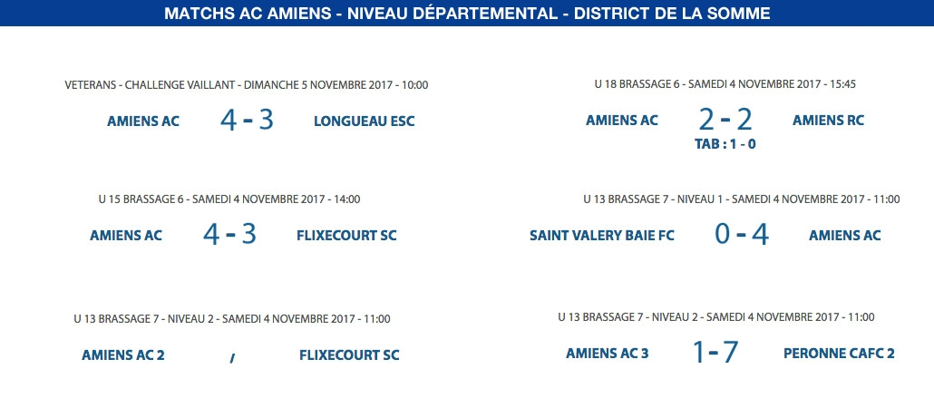 Matchs de District - 4 et 5 novembre
