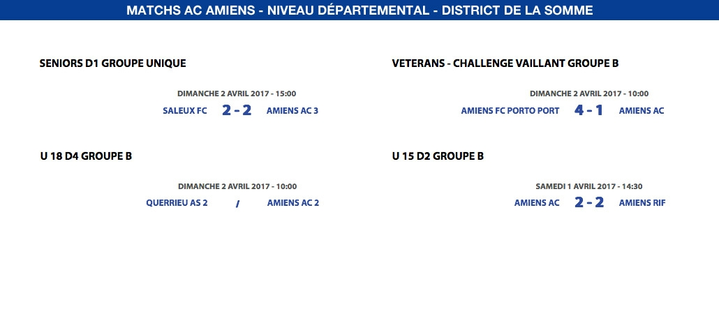 Matchs de District - Weekend du 1er et 2 avril