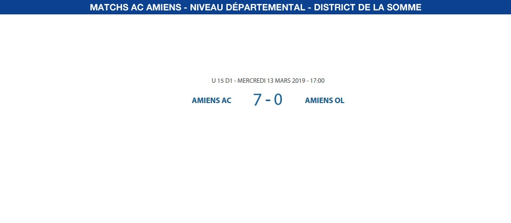 Matchs de District - 13 mars