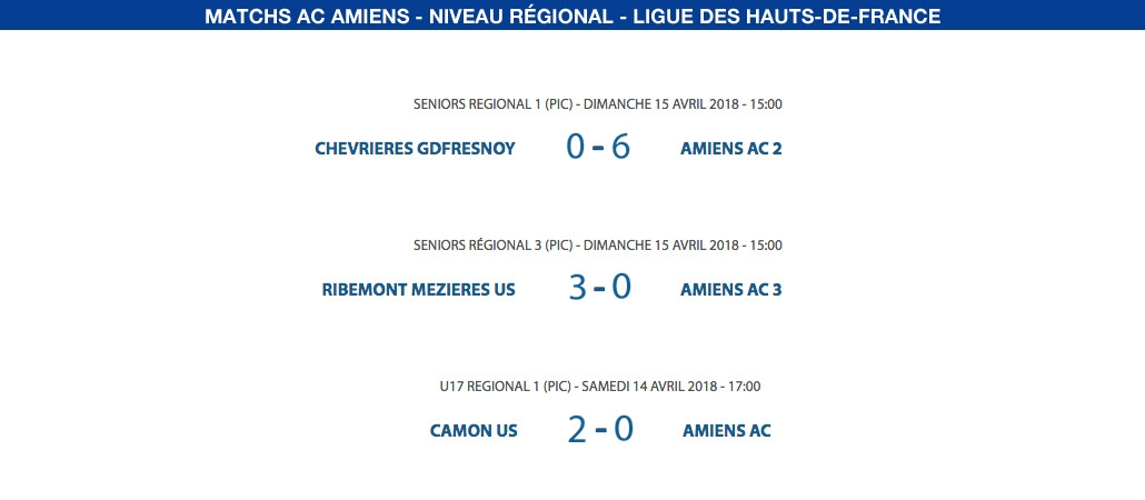 Matchs de la Ligue - 14 et 15 avril