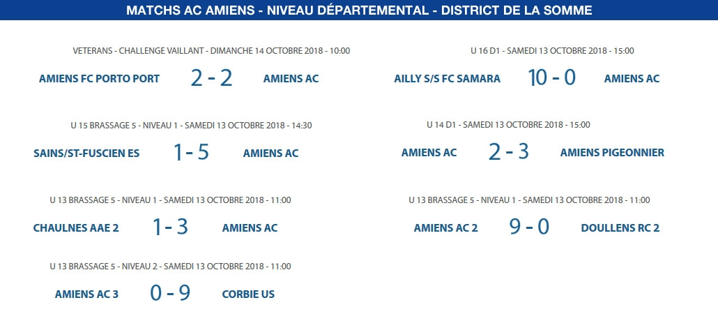 Matchs de District - 13 et 14 octobre
