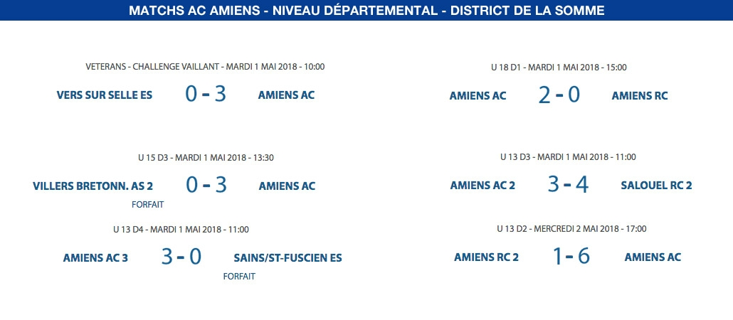 Matchs de District - du 1er au 5 mai