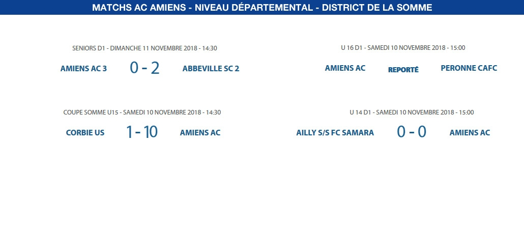 Matchs de District - 10 et 11 novembre