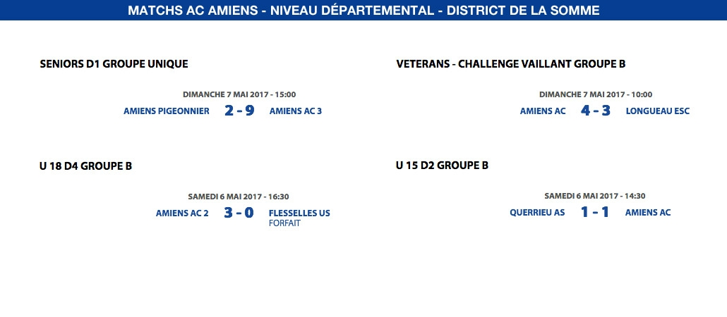 Matchs de District - Weekend du 6 et 7 mai